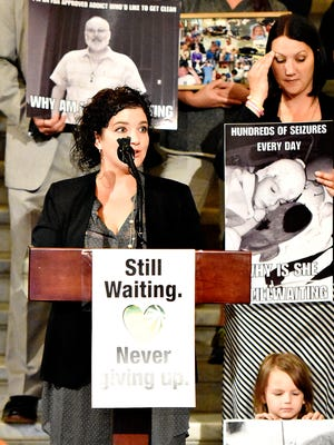 Cara Salemme, of Spring Grove, whose nine-year-old son Jackson was diagnosed with both encephalitis and epilepsy, speaks in this file photo as supporters gather at the Pennsylvania State Capitol Building to promote the legalization of medical cannabis in Harrisburg, Pa. on Tuesday, Sept. 22, 2015.   Dawn J. Sagert photo