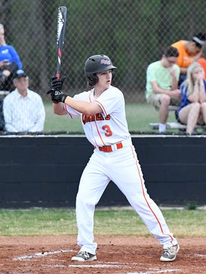 South Gibson's Trey Sherrill stands at the plate awaiting a pitch during Monday's game against Dyersburg.