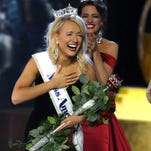 Miss Arkansas 2016 Savvy Shields is shown after being crowned Miss America 2017 by Miss America 2016 Betty Cantrell at the Boardwalk Hall in Atlantic City, NJ, Sunday, September 11, 2016.