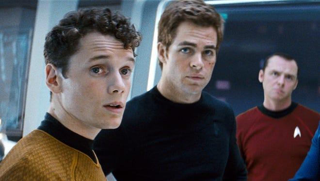 "Anton Yelchin, far left, starred as Chekov in ""Star Trek"" with Chris Pine as Capt. Kirk, Simon Pegg as Scotty, Karl Urban as Dr. McCoy, John Cho as Sulu and Zoe Saldana as Lt. Uhura."