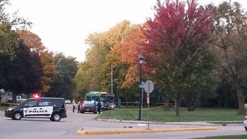 Authorities respond to a two-vehicle crash involving a city of Oshkosh GO Transit bus Wednesday, Oct. 18, 2017, at the intersection of New York Avenue and Hazel Street.