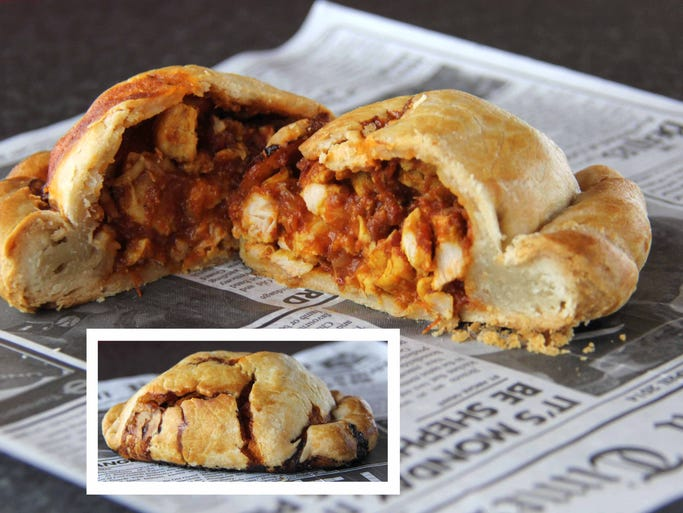 This Indian dish, chicken tikka masala, has surpassed fish and chips as the fast food of choice in Britain, and it works in a pasty as well. The inset frame shows this pasty beginning to burst with flavor. Ed Peaco/For the News-Leader