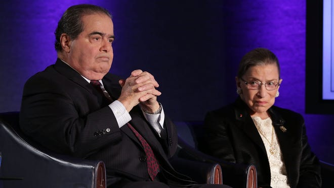 Supreme Court Justices Antonin Scalia and Ruth Bader Ginsburg appeared together at the National Press Club on April 17, 2014.