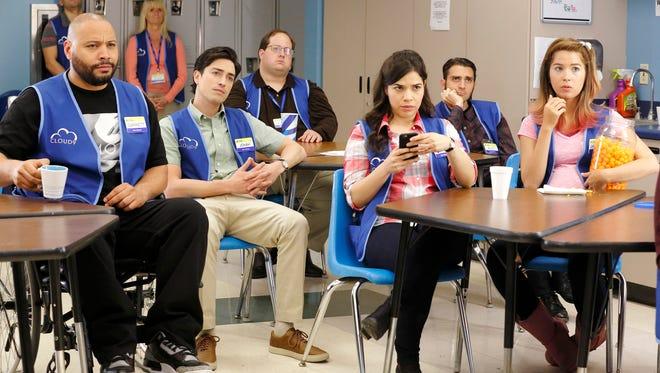 Ben Feldman, center left, and America Ferrera, center right, star in the new NBC comedy, 'Superstore.'
