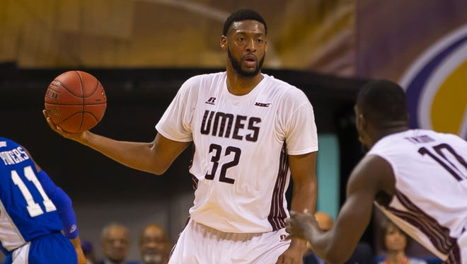 Forward Dominique Elliot at the 2015 MEAC Men's Basketball Tournament game between Hampton and UMES at the Scope Arena in Norfolk, Virginia.
