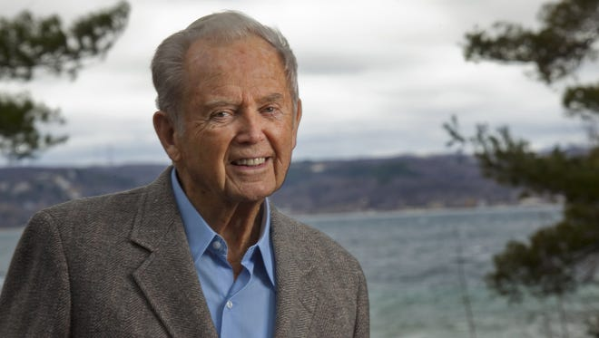 Former Governor William G. Milliken at his home overlooking the bay in Traverse City in April 2011.
