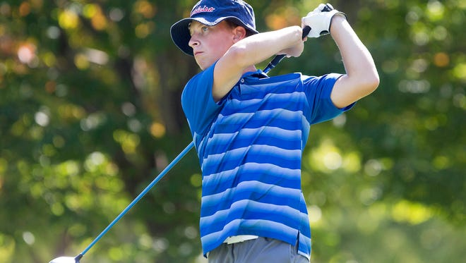 Marshalltown's Nate Vance tees off during the Valley Classic at Briarwood Golf Course in Ankeny, Monday, Sept. 19, 2016.