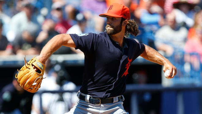 Daniel Norris of the Detroit Tigers pitches in the first inning against the New York Yankees during a spring training game at George M. Steinbrenner Field on March 11, 2017 in Tampa, Florida.