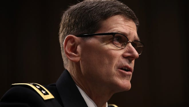Army Gen. Joseph Votel, the head of U.S. Central Command, testifies before the Senate Armed Services Committee on March 9, 2017.