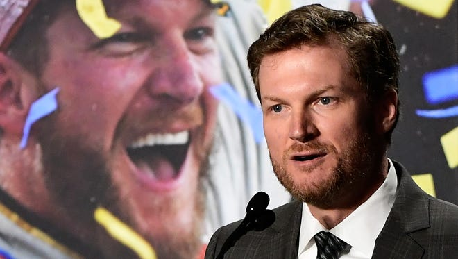 Dale Earnhardt Jr. addressed the media at a news conference at Hendrick Motorsports, where he has been a driver since the 2008 Cup season.