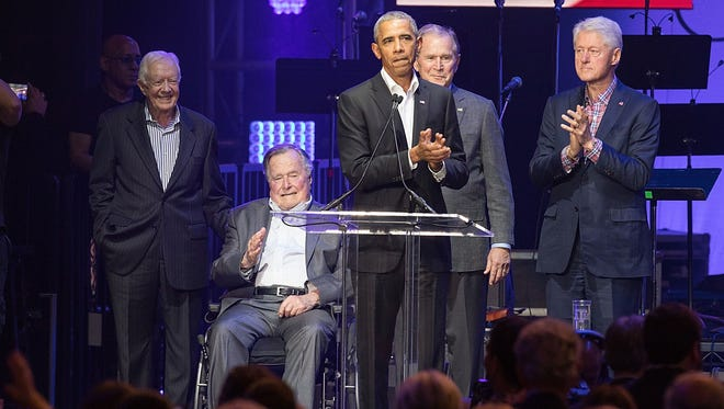 Former president Barack Obama joined fellow former presidents Jimmy Carter, George H.W. Bush, George W. Bush and Bill Clinton for a hurricane relief concert last weekend.