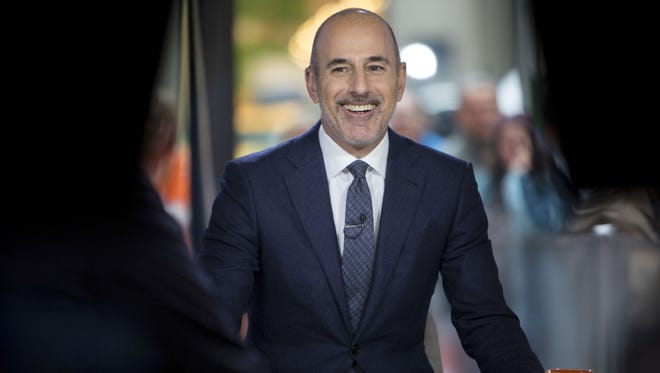 """This Nov. 16, 2017 photo released by NBC shows Matt Lauer during a broadcast of the """"Today,"""" show in New York.  NBC News fired the longtime host for """"inappropriate sexual behavior."""" A Variety exclusive says Lauer exposed himself to at least one woman at work."""