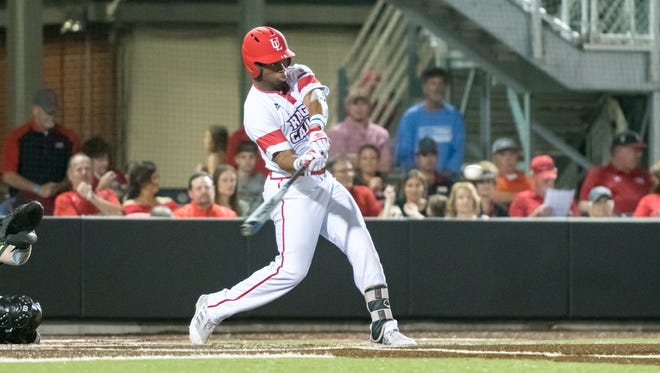 UL designated hitter Tremaine Spears, injured last Friday night at Arkansas State, takes a cut against Wright State earlier this season.