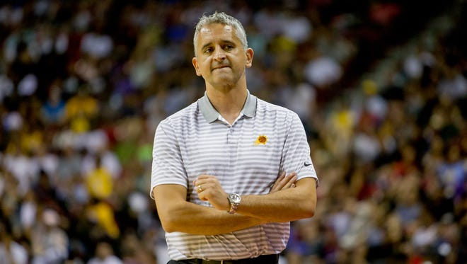 Phoenix Suns head coach Igor Kokoskov looks to the bench after Jackson is injured on July 7, 2018, during the Phoenix Suns' NBA Summer League matchup against the Sacramento Kings at the University of Nevada Las Vegas.