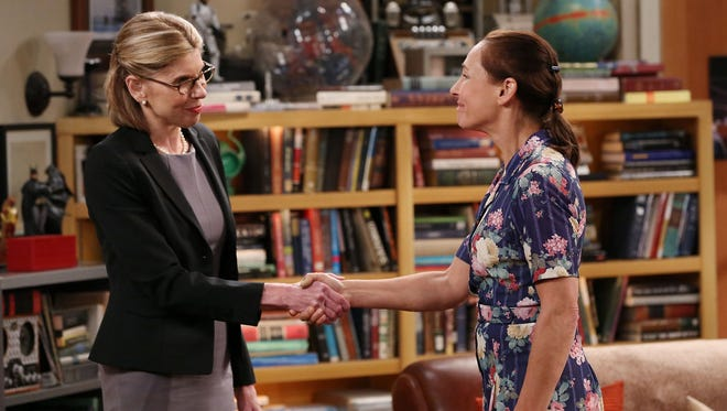 "Christine Baranski, left, and Laurie Metcalf in a scene from the episode ""The Maternal Combustion."""