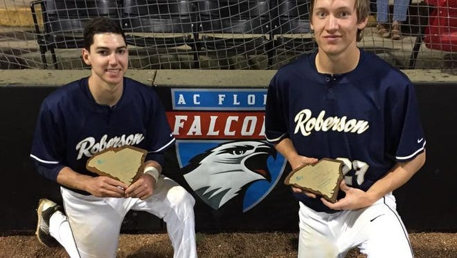 Roberson's Nate Fore, left, and Jacob McCarthy.