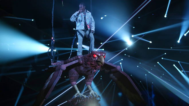 Rapper Travis Scott performs onstage at the MTV European Music Awards 2017 in London, Sunday, Nov. 12, 2017.