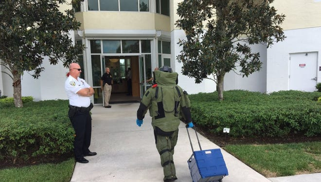 St. Lucie County Sheriffs Office bomb squad at the scene of suspicious package at Port St. Lucie City Hall, 121 S.W. Port St. Lucie Blvd.