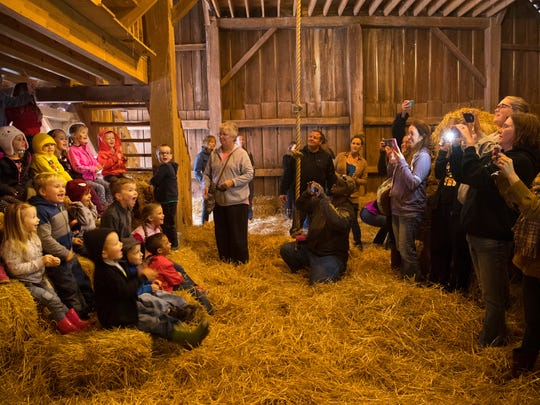 South Terrace Elementary PreSchool students gather for a portrait in the barn loft of Goebel Farms in Evansville Wednesday morning.