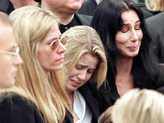 - Cher (right), Chastity Bono (now Chaz) and Mary Bono mourn as Sonny Bono's casket is placed inside the hearse after a service at St. Theresa Catholic Church in Palm Springs