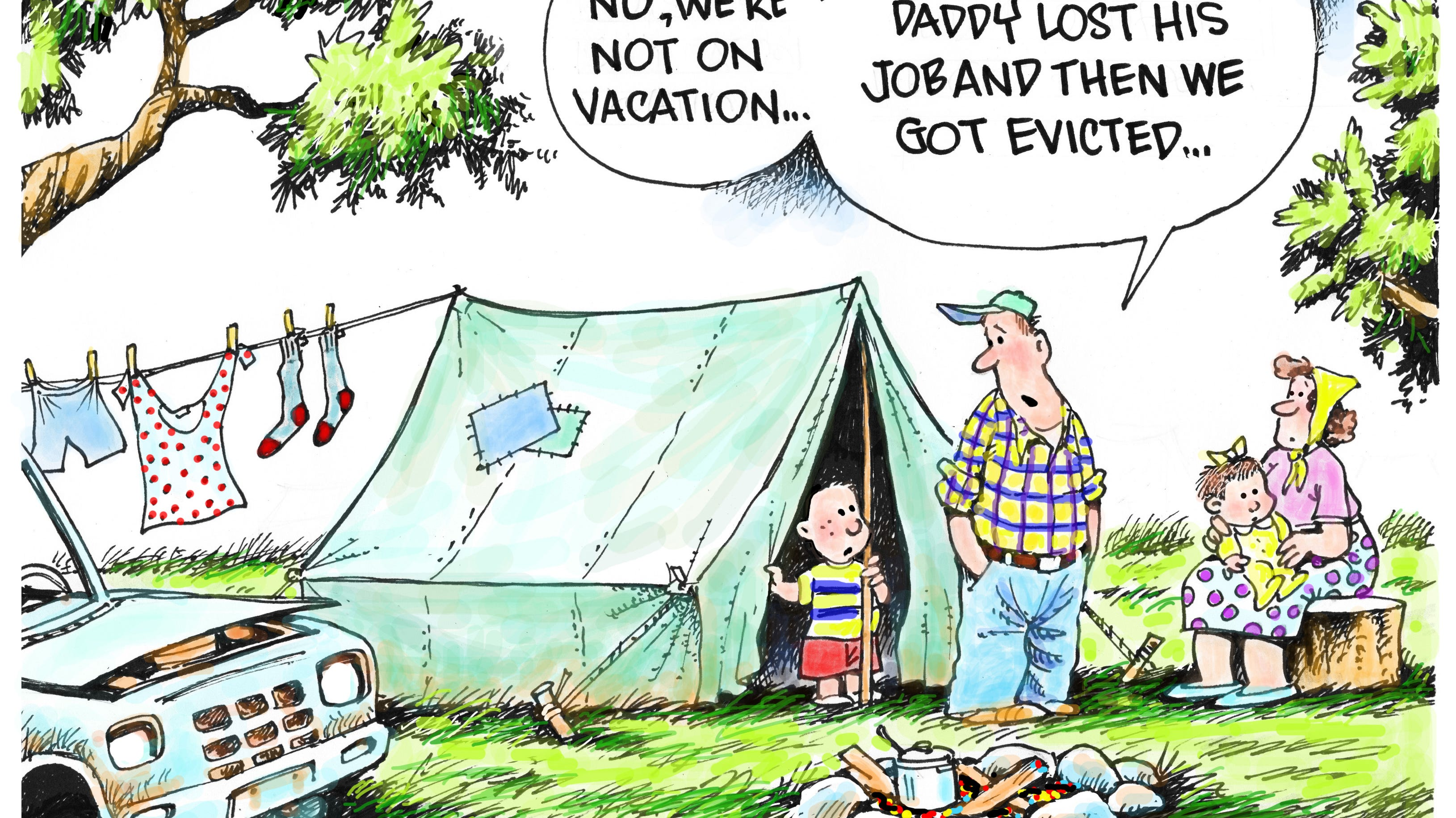 Granlund cartoon: Layoffs and evictions