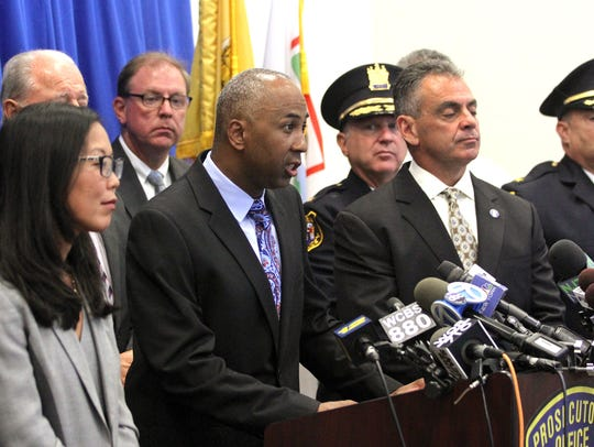 Plainfield Police Director Carl Riley speaks during a press conference with Union County police officers from Plainfield, Linden, Mountainside and Scotch Plains.