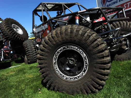"A couple of Jesse Haines' ""rock crawlers""  are seen in the Summit Racing parking lot in Sparks on Sept. 19, 2015."