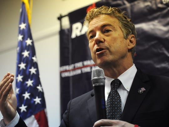 Republican candidate for President Rand Paul speaks