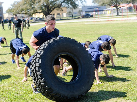 The Marine Corps Recruiting office hosted an event at Cajun Field for more than 75 young Acadiana area men and women to compete and test their ability to work cohesively as a unit. Feb 27, 2016.