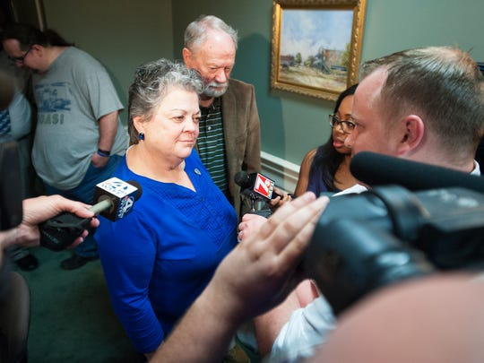 Councilwoman Sylvia Lockaby speaks to media following a meeting to discuss the suspension of Police Chief Keith Grounsell at Simpsonville City Hall on Monday, April 4, 2016.