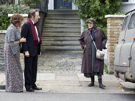 "This photo provided by courtesy of Sony Pictures Classics shows, Deborah Findlay, from left, as Pauline, Roger Allam as Rufus and Maggie Smith as Miss. Shepherd, in the film, ""The Lady in the Van."" (Nicola Dove/Sony Pictures Classics via AP)"