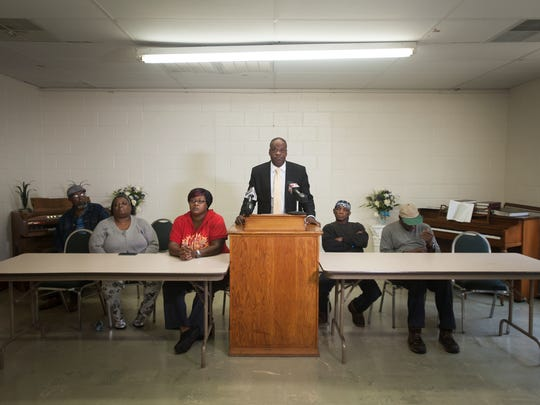 Reverend Ennis Fant and residents hold a press conference at the Martin Webb Learning Center claiming that the Greenville Housing Council is violating federal policies on Friday, May 20, 2016.