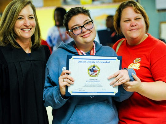 Magistrate Judge Carol Whitehearst, Charleigh Tate and her mother Nicole Pablo.