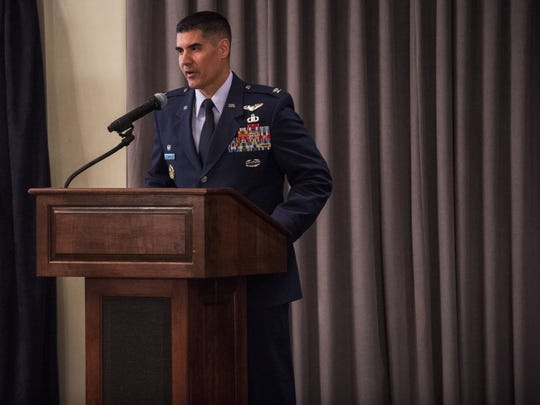 Col. Eric Shafa speaks during the 42nd Air Base Wing Commander Assumption-of-Command Ceremony on Thursday, Jul. 7, 2016 at Maxwell Air Force Base in Montgomery, Ala.