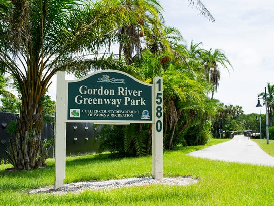 """A sign at one the entrances to the Gordon River Greenway is seen in Naples on Thursday, Aug. 25, 2016. Leaders with the Conservancy of Southwest Florida and other attractions, such as the Gordon River Greenway and the Naples Zoo, along with others including the Naples airport director, are working together to get a """"green district"""" designation that they hope will help send a unified message about the green offerings for visitors in Naples."""