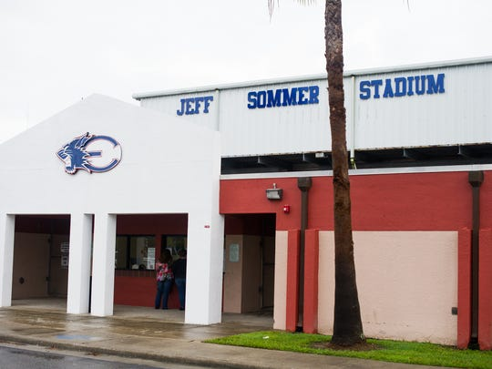 The outside of the newly re-named Jeff Sommer Stadium during the dedication to Coach Jeff Sommer at Estero High School on Friday, Sept. 2, 2016.