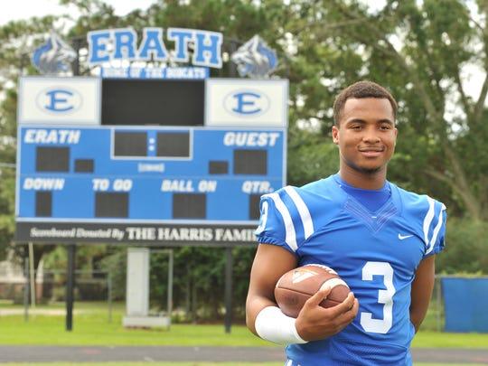 Elijah Mitchell Erath High School Bobcats varsity football players pose for team photos