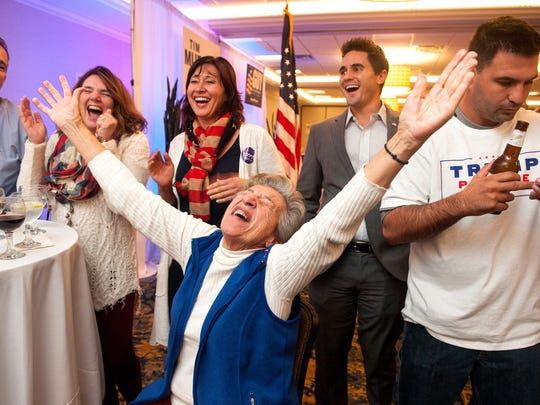 GOP supporters celebrate as states were announced for  Donald Trump on Election night Tuesday.