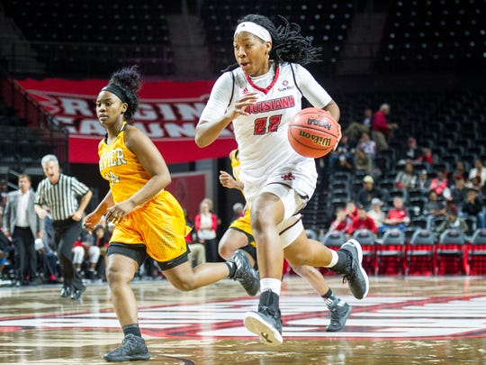 UL's Gabby Alexander drives to the basket during her team-high 15 points Thursday at the Cajundome.