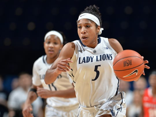 Sierra Moore (5) during a Lady Lions game with the Scarlet Knights of Rutgers.