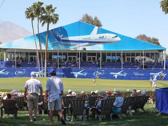 The island green on the par-5 18th hole of the Dinah Shore Tournament Course at Mission Hills Country Club in Rancho Mirage, host course of the ANA Inspiration, has been the seen of dramatic finishes as well as the champion's leap into Poppie's Pond each year.