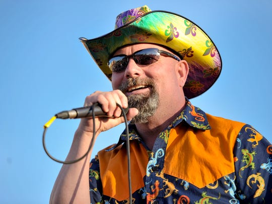 In this February 2017 file photo, Jamie Bergeron, of Jamie Bergeron and the Kickin' Cajuns, performs during Hooked Up on Mardi Gras.