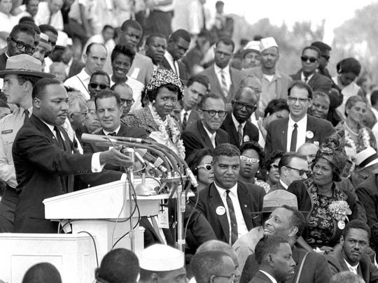 "The Rev. Dr. Martin Luther King Jr., head of the Southern Christian Leadership Conference, speaks to thousands during his ""I Have a Dream"" speech in front of the Lincoln Memorial for the March on Washington for Jobs and Freedom in Washington on Aug. 28, 1963."