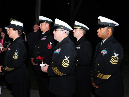 Members of the military were on hand at the candlelight vigil held for Kenneth Smith Wednesday evening in Milford.