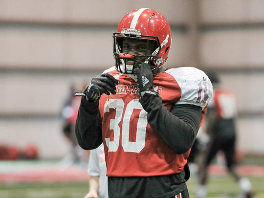 Senior T.J. Posey, shown here during spring practice last March, is ready to lead the UL defense as its Mike linebacker.