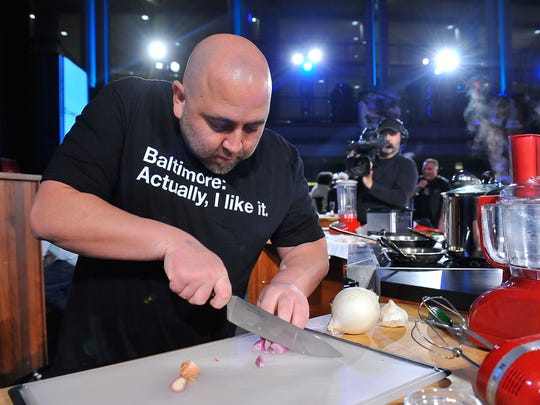 Chef Duff Goldman wears a T-shirt touting Baltimore