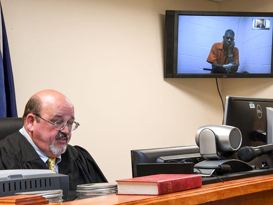 Joe Frank Gibert, of Anderson County hears Judge Carey Murphy by video teleconference, deny him bond in Anderson on Wednesday.  Gibert of Anderson County was denied bond by the judge in a case involving a hit-and-run death of George Eugene Williams, 73, of Iva, on Flat Rock Road in Starr on Monday.