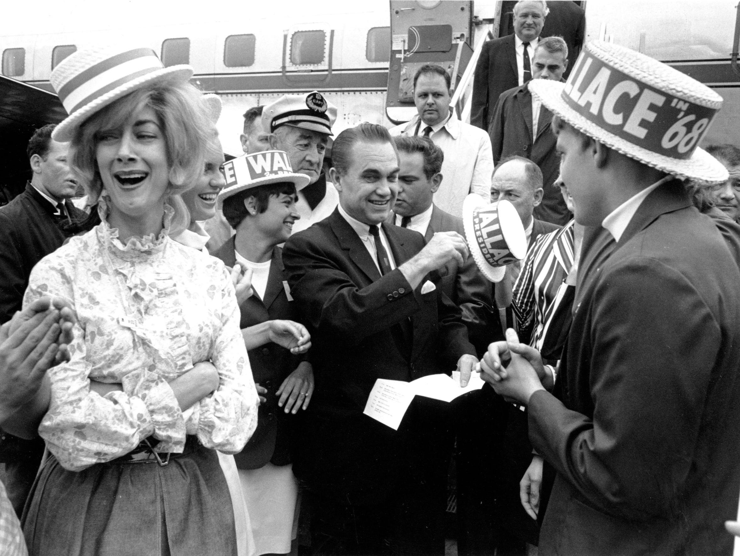 In this June 28,1968 file photo, presidential candidate and former Alabama Gov. George Wallace arrives in Boston.