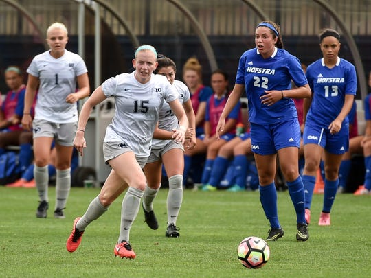 Penn State senior and Cedar Crest grad Haleigh Echard (15) scored the game-winning goal in Penn State's 2-1 win over Northwestern in the Big Ten championship game on Sunday.