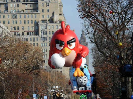 The Angry Birds take over Manhattan during the Macy's Thanksgiving Day Parade in this 2015 file photo. Balloons like this one are a major feature of the annual parade.